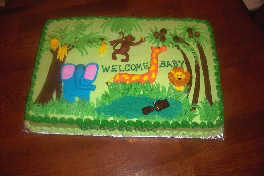 Fine Images Of Jungle Baby Boy Shower Cake Without Fondant Yahoo Funny Birthday Cards Online Inifodamsfinfo