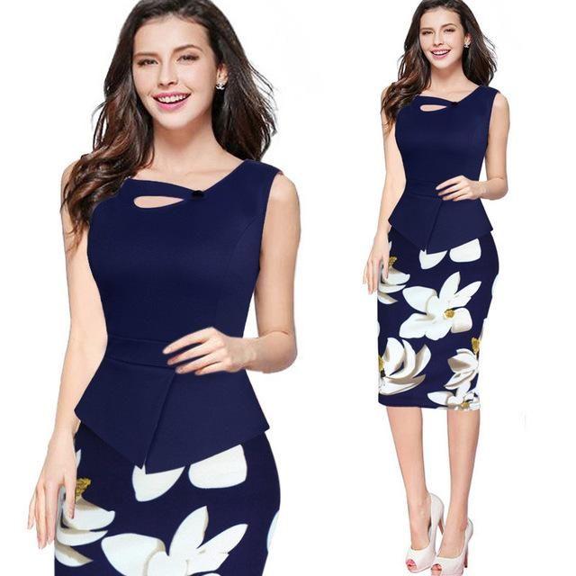 Office Dress Elegant Women Dress Print Floral Patchwork Sleeveless Tunic Casual Pencil Dresses