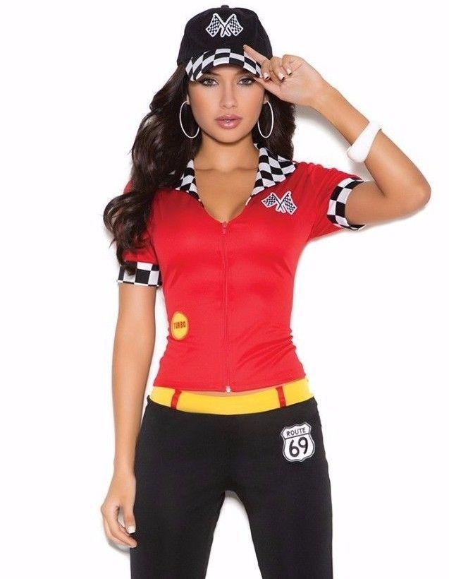 Race Car Driver Costume Small Women Sexy Halloween Racecar Pit Crew Pants NASCAR #ElegantMoments ...