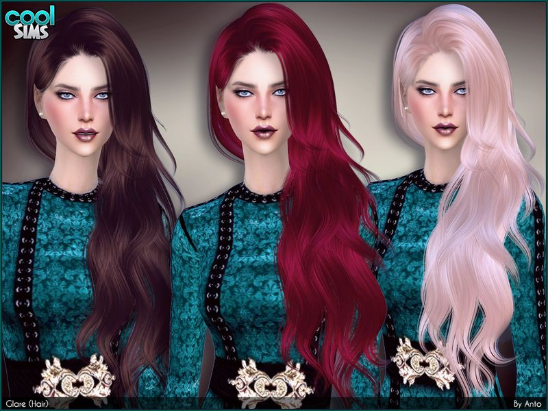 Long Wavy Hair For Your Ladies Falling At One Side Found In Tsr