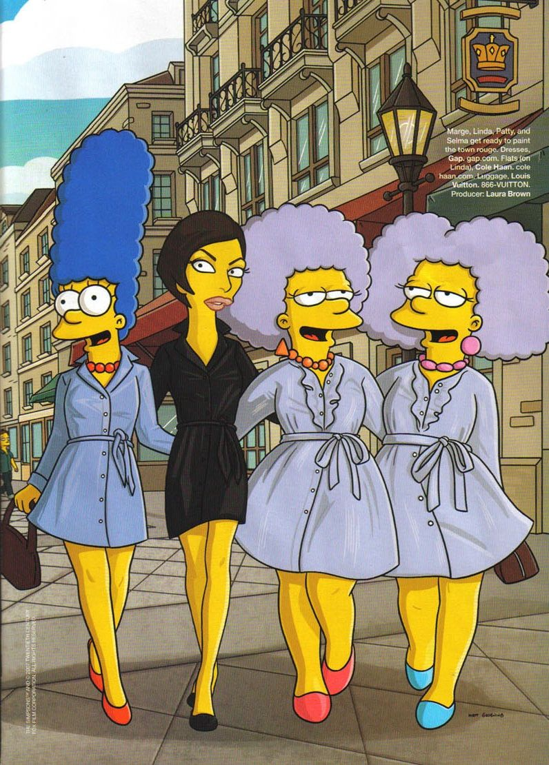 Marge Simpson, Linda Evangelista, Patty & Selma Bouvier in The Simpson's Go To Paris for Harper's Bazaar, September 2007 Illustrated by Julius Preite