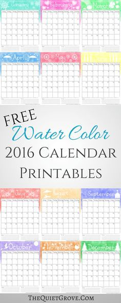 Free Watercolor  Printable Calendar  Printable Calendars