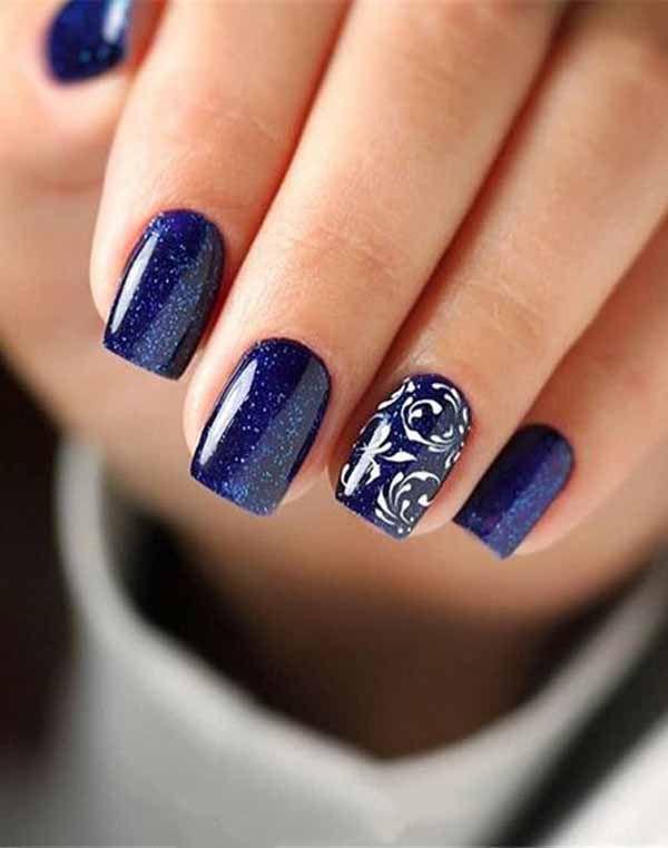 5 Unavoidable Floral Nail Art For Short Nails Take A Look Square Acrylic Nails Blue Nail Art Designs Blue Nail Art
