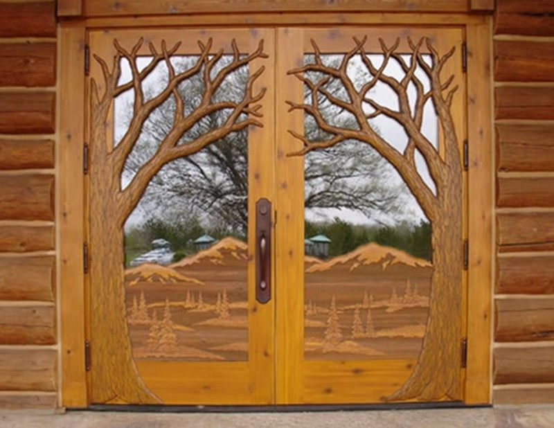 Custom Anderson Entry Unitthis Is Unique Dbl Door Unit From Clear Fir Features Sandcarved Design W Carved Tr Carved Doors Rustic Doors Entrance Door Design