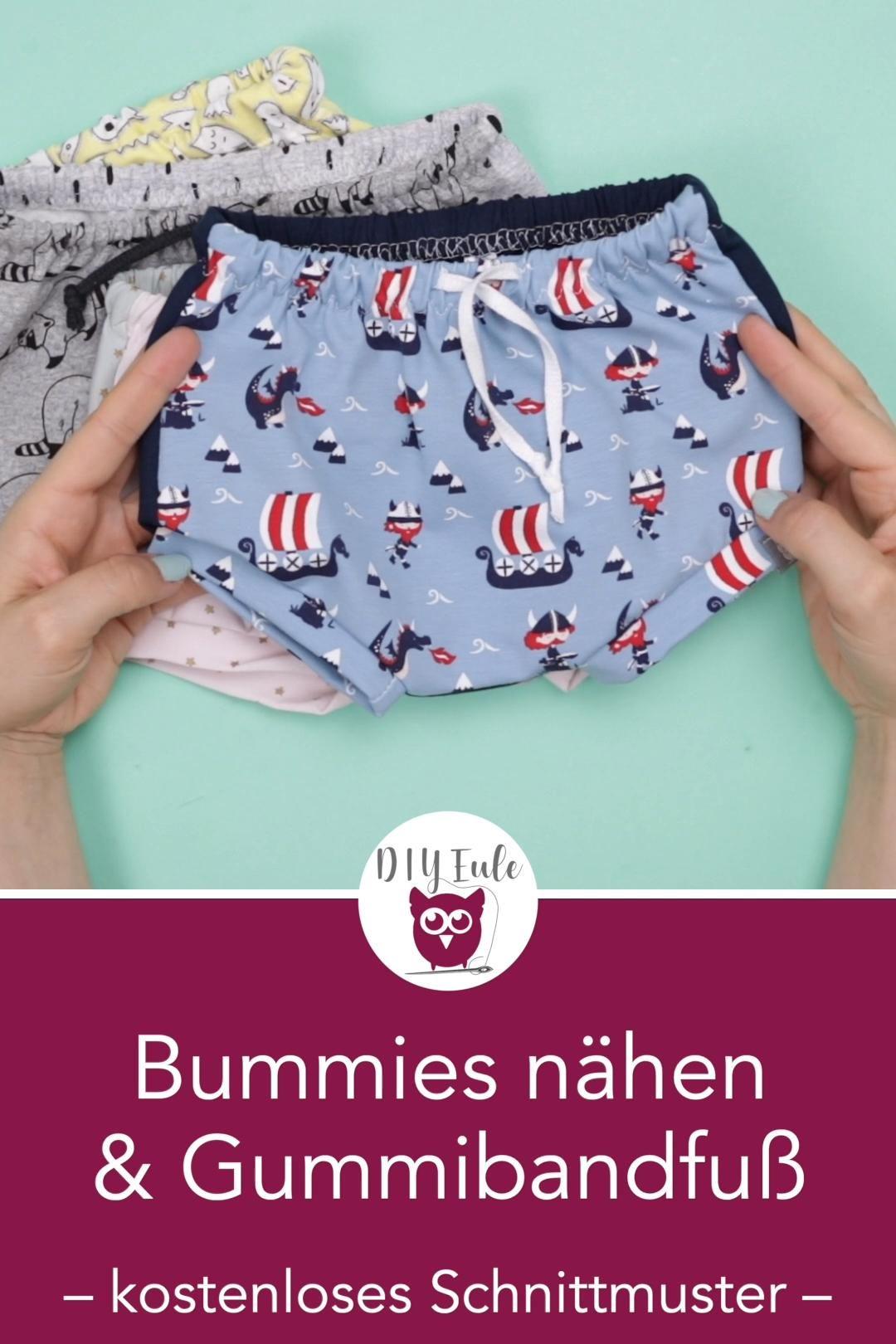 Bummies nähen / kurze Hosen für Babys & Gummi mit der Overlock annähen