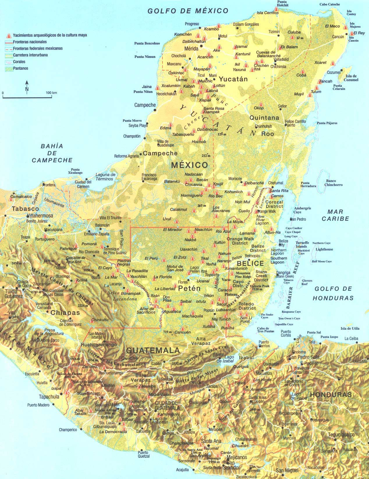 Maya Map  though ruins in San Mateo Ixtatan are missing http