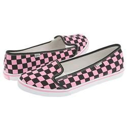 pink and black checkered vans