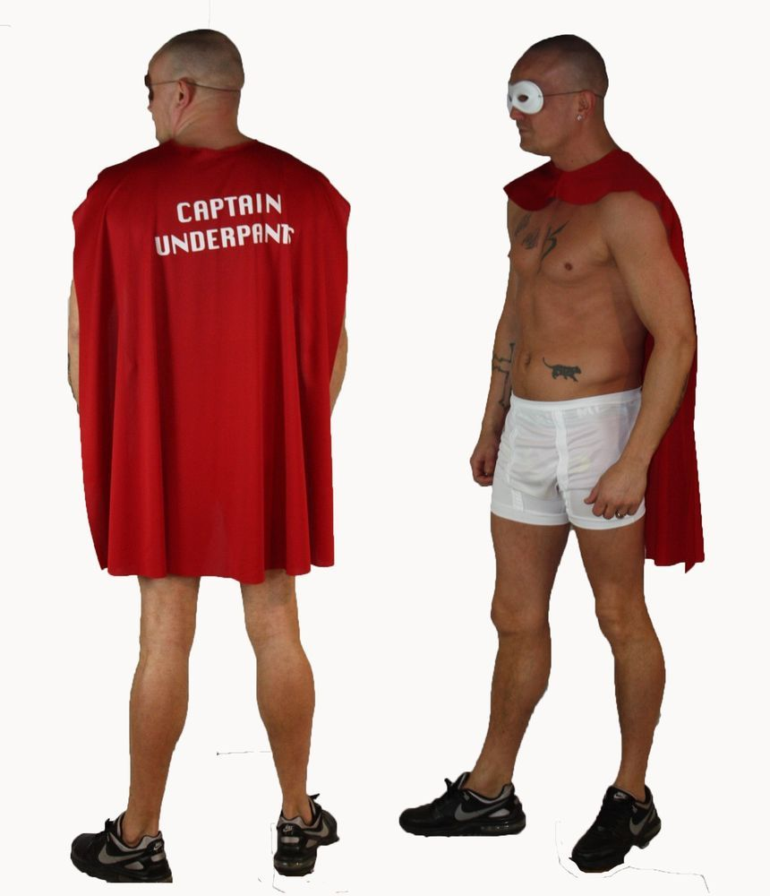 7db40b5e0 Adult Funny Fancy Dress Captain Underpants Red Cape Mask & White ...