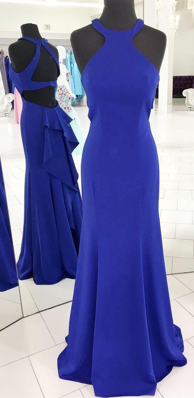 Gorgeous halter royal blue mermaid long evening dress beautiful
