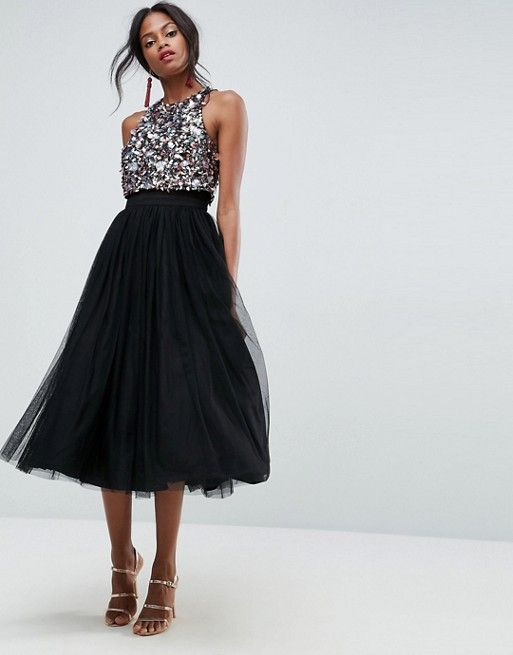 ASOS Cluster Embellished Crop Top Tulle Midi Dress at asos.com
