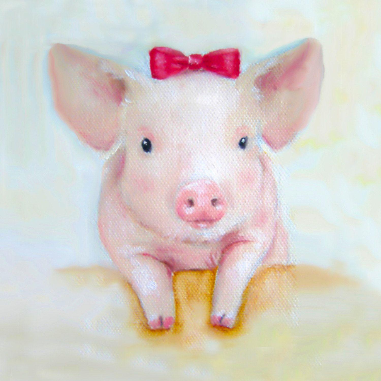 Pig Kitchen Decor: Pink Pig Wall Art Print Shabby Chic Decor By