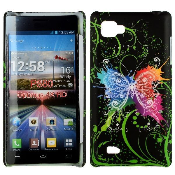 Valentine (Värikäs Perhonen - Musta) LG Optimus 4X HD Suojakuori