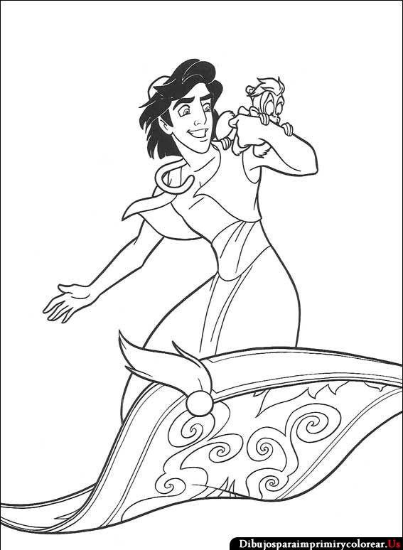 Imagenes de Aladino para Imprimir y Colorear | Disney アラジン ...
