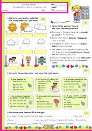 English worksheet: What´s the Weather like? - Listening test ...