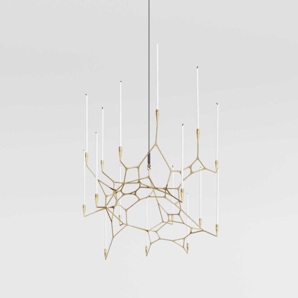 A Brass Chandelier Breaking From The Tradition Of The Radially Symmetric Typology Brass Chandelier Chandelier Cool Lighting