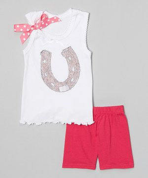 Look at this #zulilyfind! White Horseshoe Tank & Red Shorts - Infant, Toddler & Girls by Beary Basics #zulilyfinds