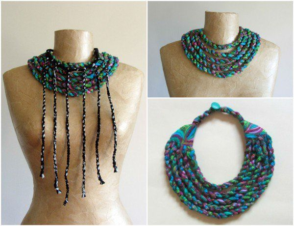 I made these necklaces out of scraps of fabric. The green one is made from vintage woven fabric, twisted into thick ropes and then stitched together to create this multi strand bib. The grey and black are made from striped…