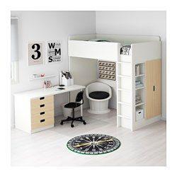 IKEA - STUVA, Loftseng med 4 skuffer/2 låger, hvid, , Du kan montere ...
