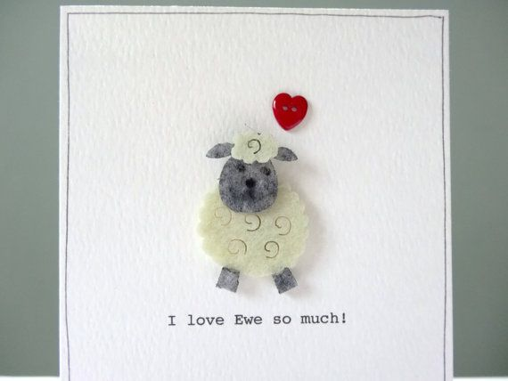 Valentines card funny sheep pun valentines day card i love ewe