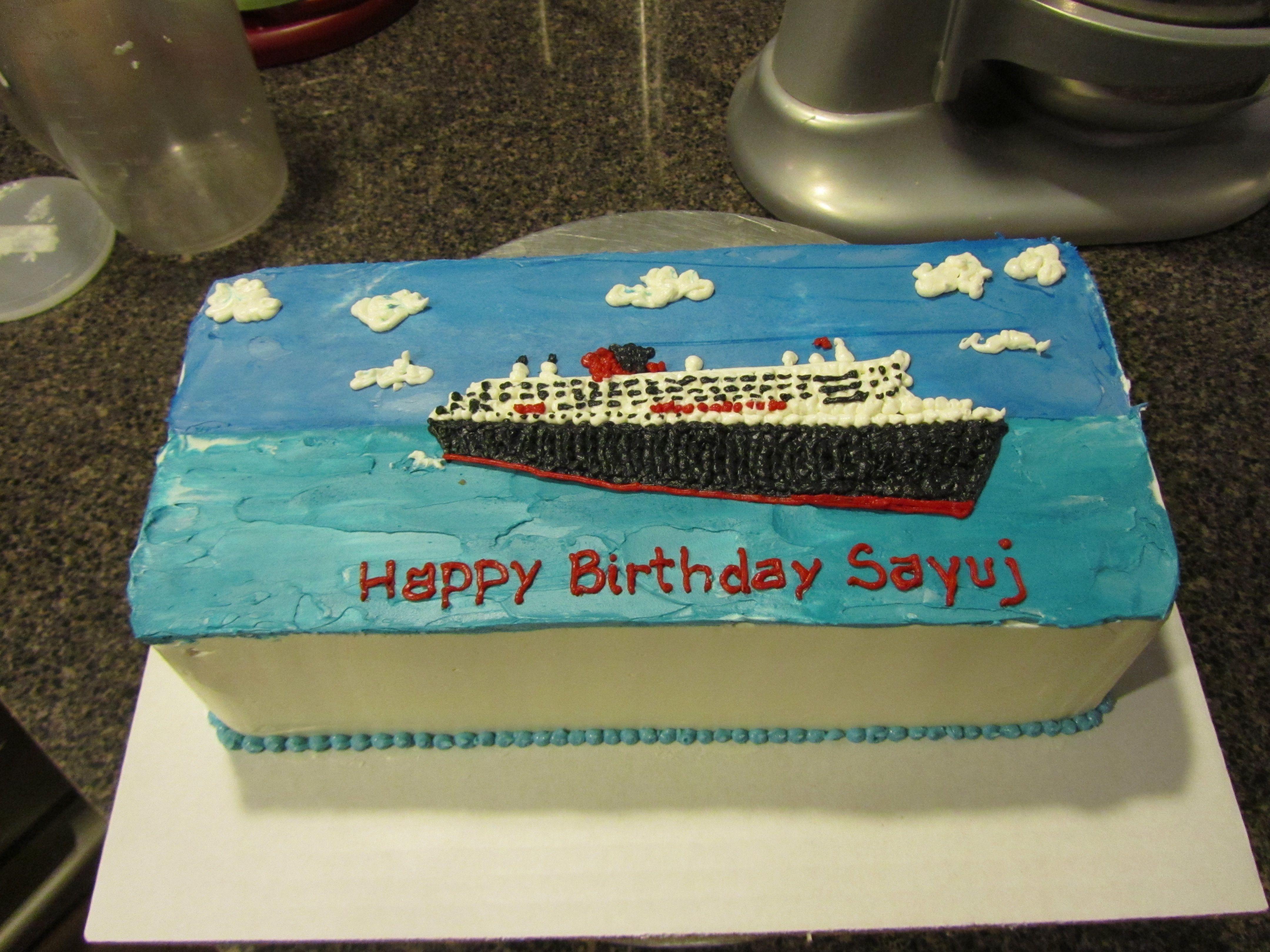 2D cruise ship cake Cocoa Bakery Cakes Pinterest Cruise ships