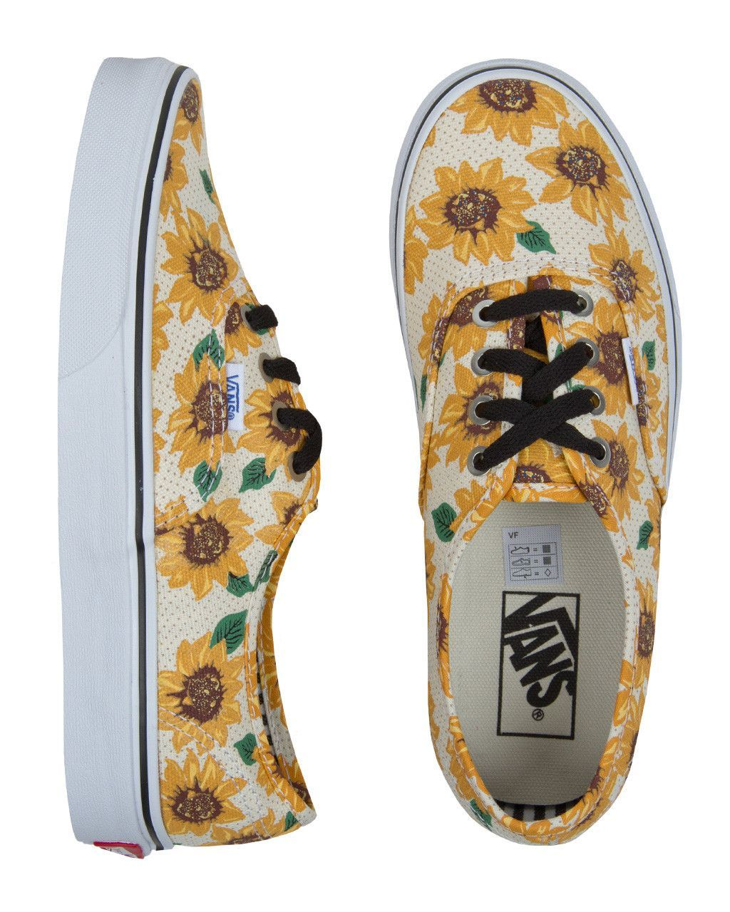 5df8dd80442015 Fun and Floral    Vans Authentic Sunflower True White Womens Shoes ...