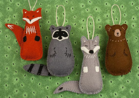 Felt Ornament PATTERN BUNDLE, Fox, Raccoon, Bear, Wolf, Woodland ...