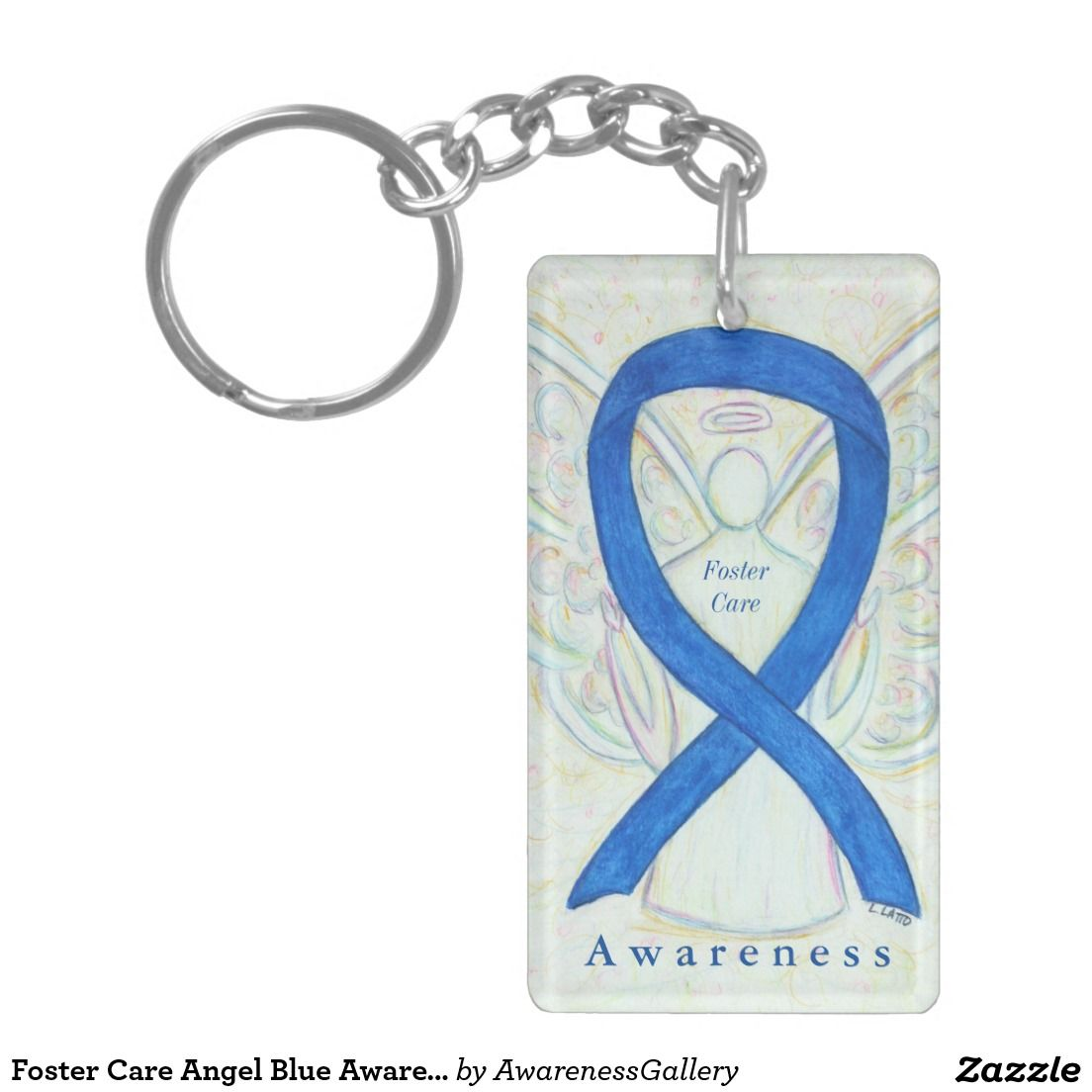 Foster Care Angel Blue Awareness Ribbon Keychain Blue Awareness