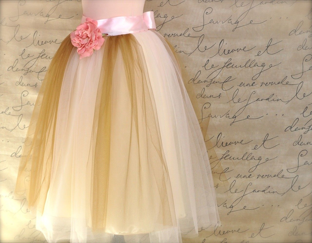 Note the underskirting. Fantastic!  (Marie's tutu. Shabby chic French style lined tutu in pale pink, ivory and antique gold.. $175.00, via Etsy.)