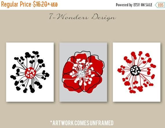 Flower Poppy Bursts Abstract Art Print Set (3) 5 x 7, 8 x 10 OR 11 x ...