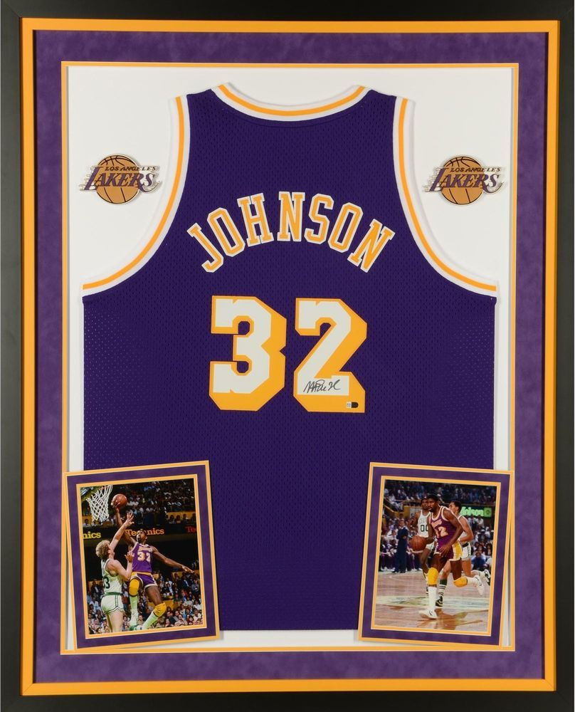 3869988f0 Magic Johnson LA Lakers Signed Framed Purple Jersey - Fanatics ...
