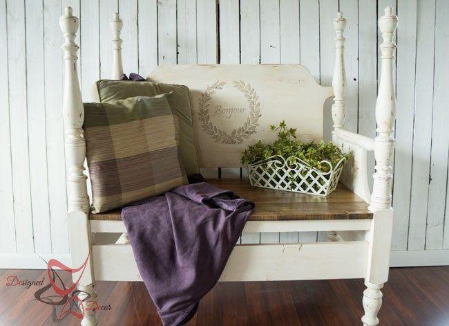 Reutilizado Cabecera Bench- francesa Bench- Muebles Estarcir-maison-pintura blanca muebles