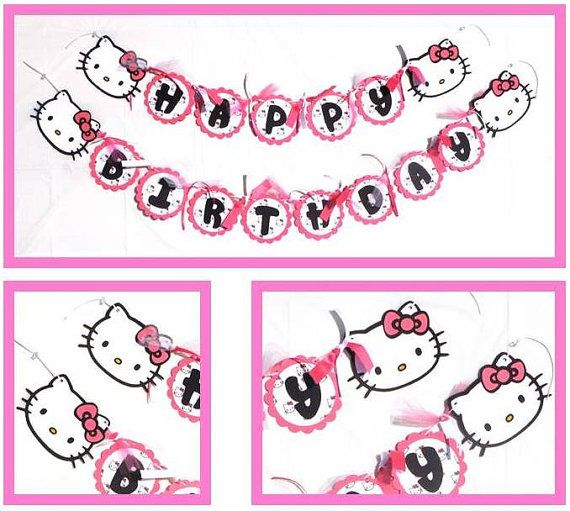 Hello Kitty Themed Happy Birthday Party Banner By