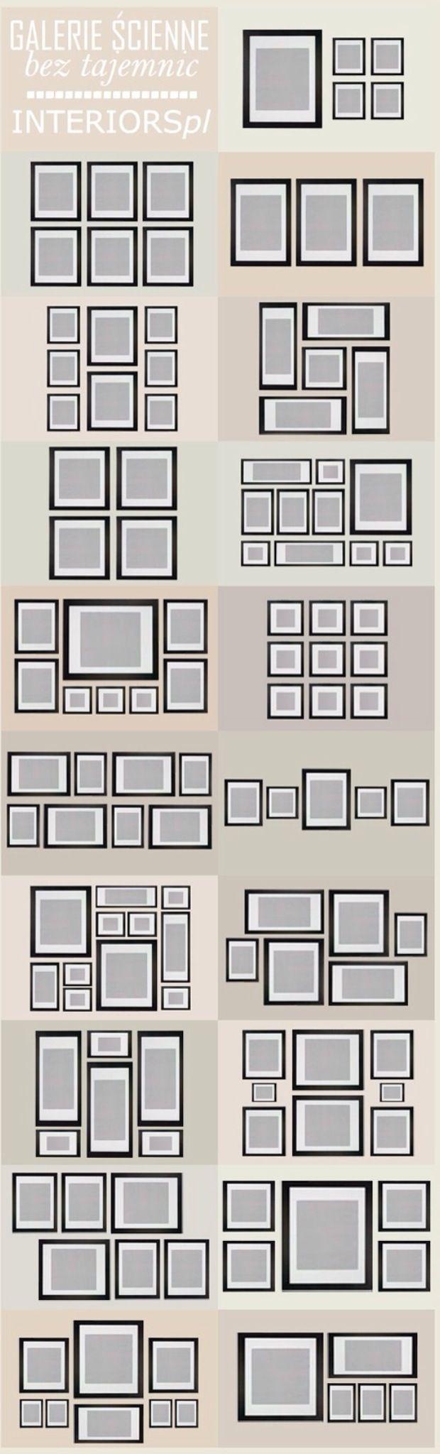 Colocar fotos en la pared con diferentes tamaños en los marcos ...