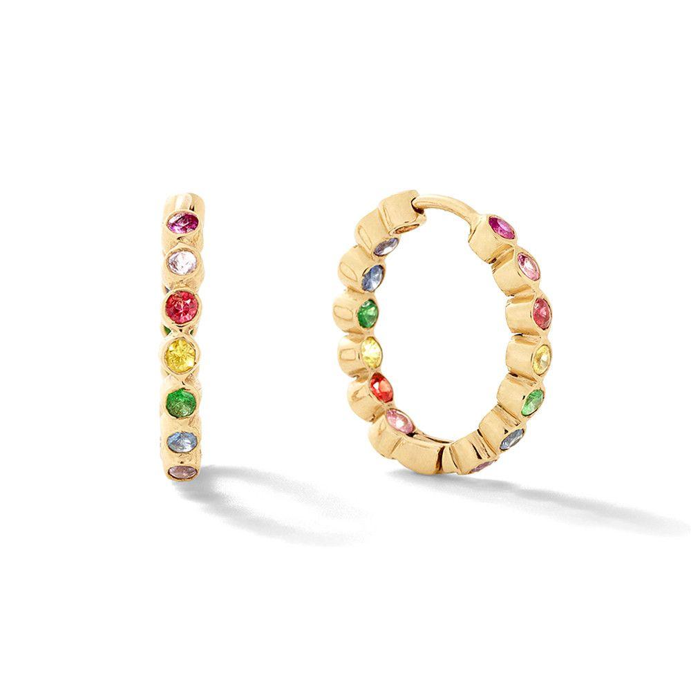 Wrap Around 14K Gold Sapphire Hoop Earrings She Bee yFZVNMUN2o