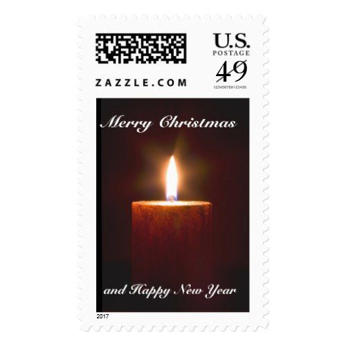 Orange Candle Christmas Postage Stamp Template  Christmas Postage