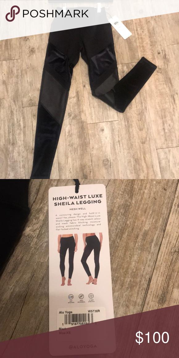 08f96c1e4f08d Brand new Alo leggings Black with velvet details! High waisted Xs ALO Yoga Pants  Leggings
