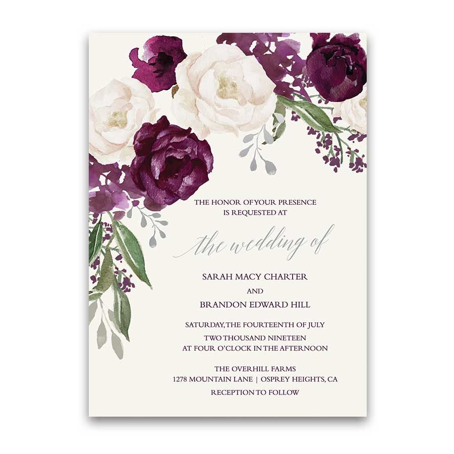 Wedding Invitations Personalized Burgundy Wine Fall Fl A Collection Of Cream Purple And Watercolor Fls For Your