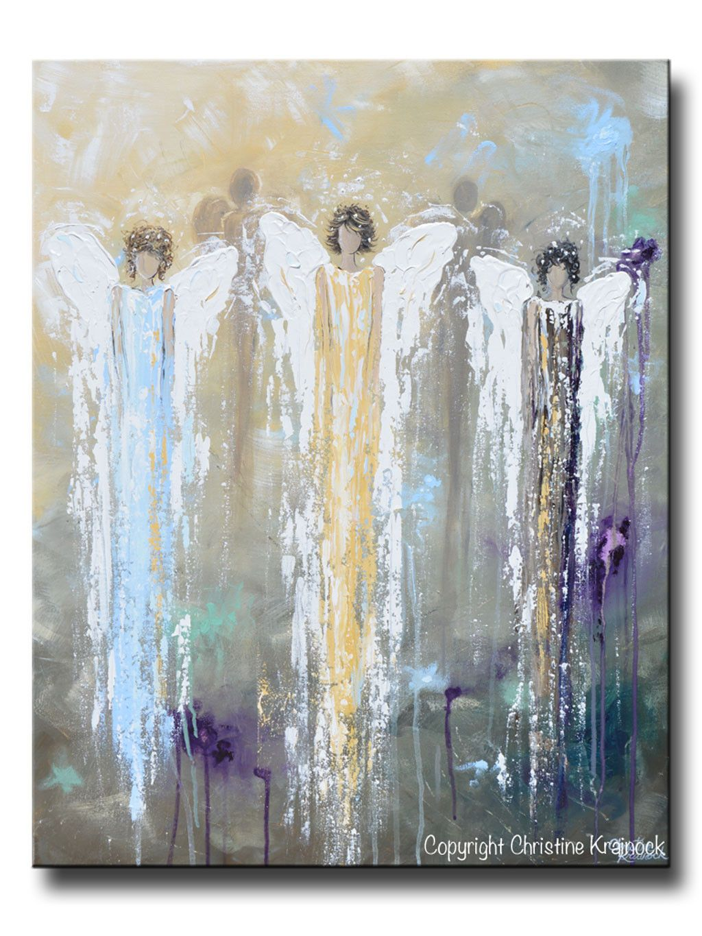 Spiritual Wall Art original abstract angel painting white blue gold 3 guardian angels