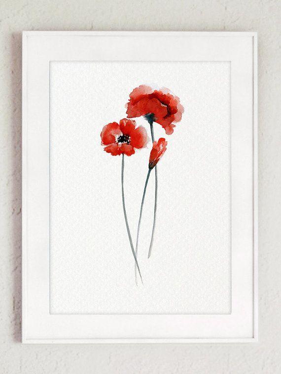 Poppy flowers illustration set of 2 poppies red home decor abstract fleurs de pavot illustration lot de 2 coquelicots rouge maison dcor abstrait art imprim floral dcoration murale de fleurs peinture laquarelle mightylinksfo