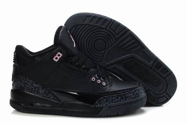 women jordan shoes | Women Air Jordan 3 Nike Retro Shoe All Black [WJSA003]