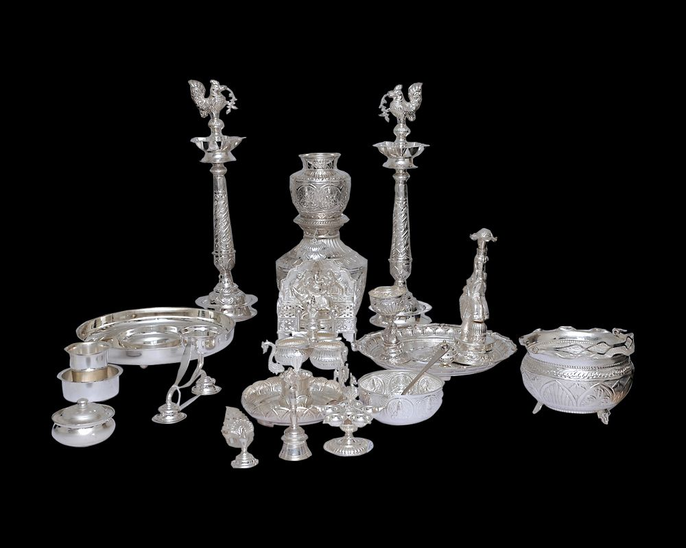 Nathella Collections Silver Pooja Set Antique
