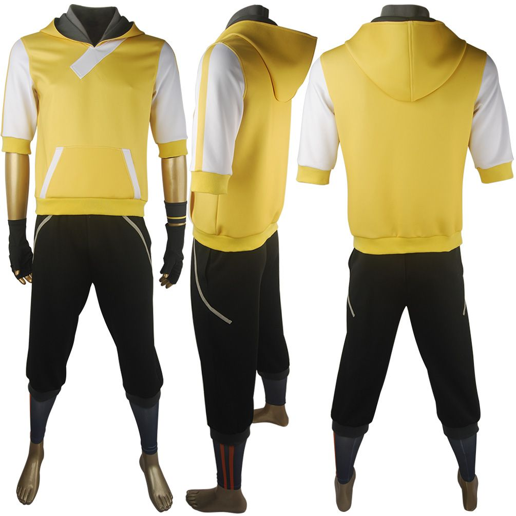 Game Pokemon Go Trainer Figure Yellow Jacket Hoodie Outfit Team Valor  Mystic Instinct Cosplay Costume