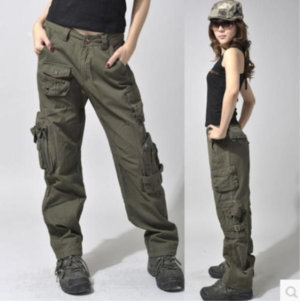 Womens Military Army Green Cargo Pocket Loose Trousers Combat Casual Pants Cargo Pants Women Pants For Women Hiking Outfit Women