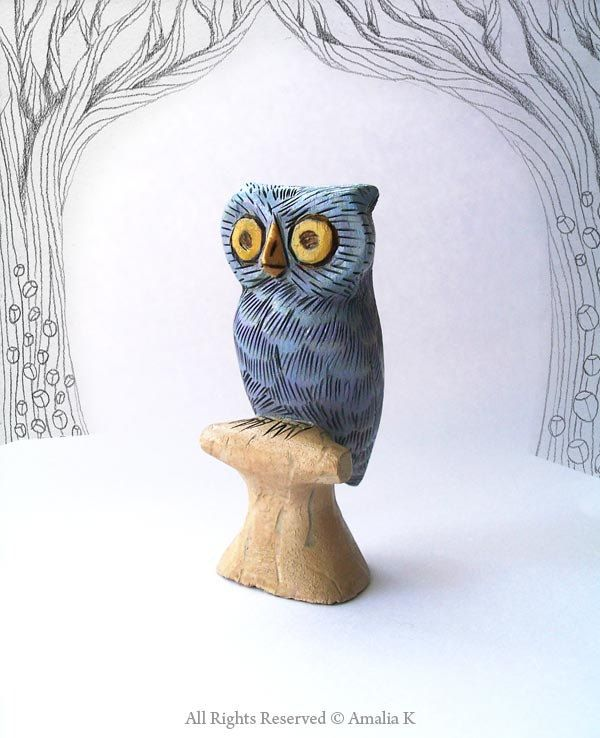 Silvery Blue Owl - whimsical small animal wood carving