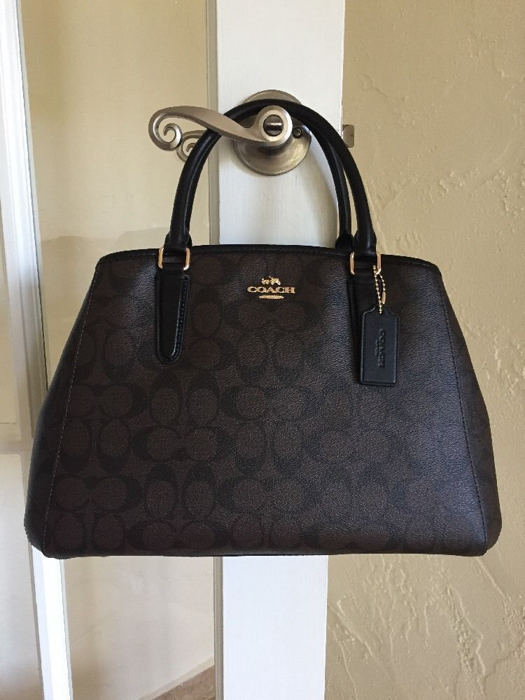 Coach F58310 Signature Margot Carryall Brown Black Satchel