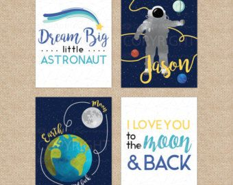 I Love You to the Moon & Back Boy Wall Art CANVAS or by TRMdesign