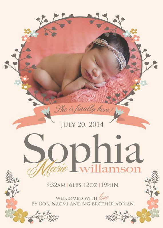 Vintage flowers - Baby girl birth announcement - FINALLY HERE Custom Photo Baby Announcement - 1 photo by babybaloo $16.57
