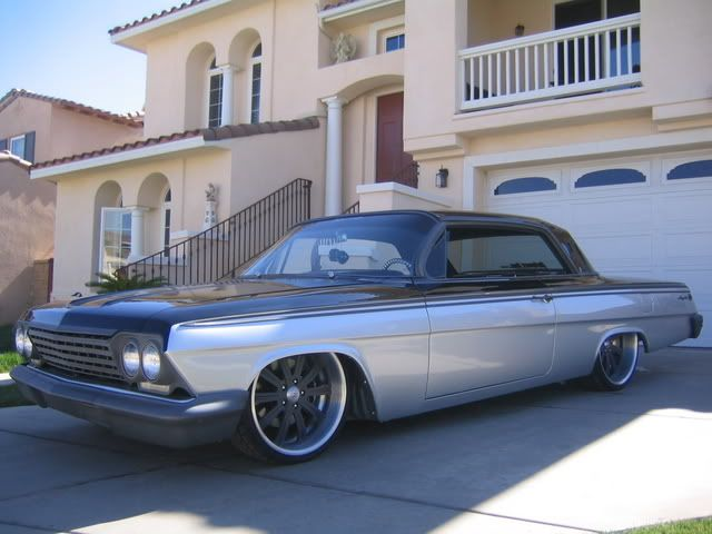 Intro S On My 62 Impala 20 22 Combo Grey Brushed Intro Wheels Does A Nice Job They Lathe Down The Backsid 64 Impala Impala Classic Cars Trucks Hot Rods