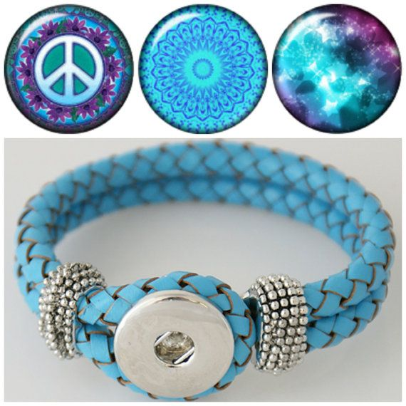 Noosa Style Chunk Chunks Ginger Snap Button Jewellery Charms Wrap Bracelet 18mm