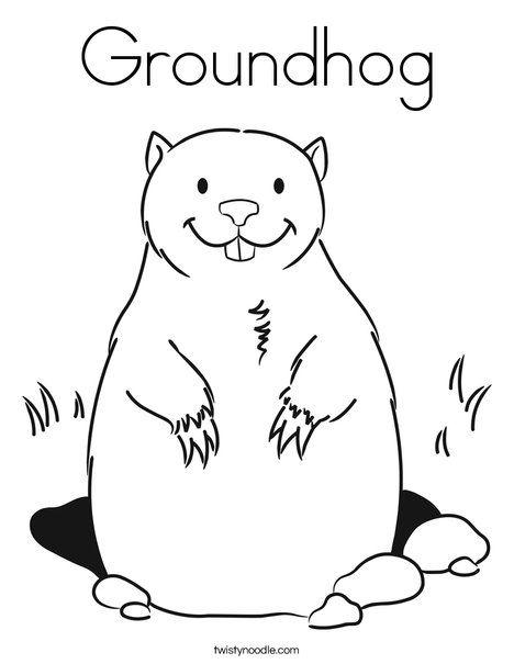 Groundhog Coloring Page Twistynoodle Com Mermaid Coloring